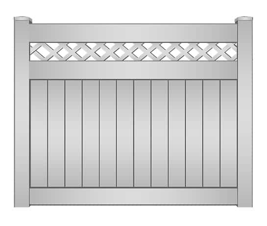 Riviera Vinyl Privacy Fence with Lattice Accent