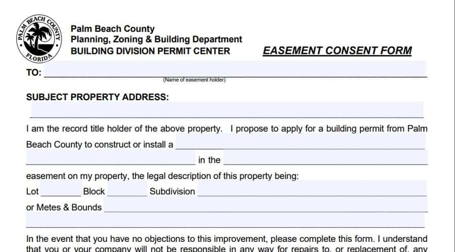 Easement agreement form for vinyl fence in Palm Beach County