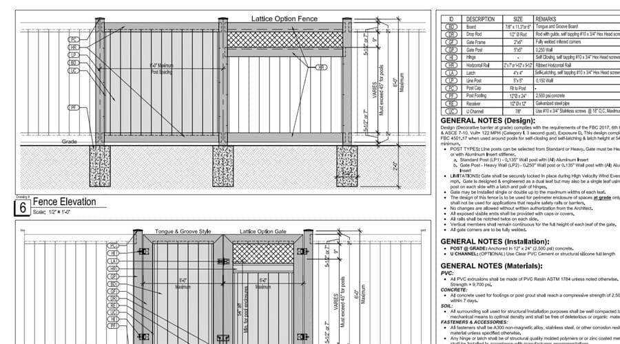 Engineering Drawing for vinyl privacy fence materials in Palm Beach County, FL